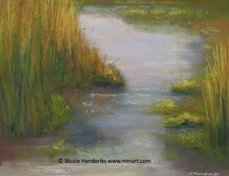 waterlandschap pastel landschap