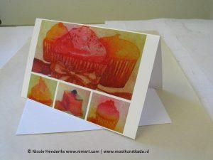 kunstkaart taartjes een dubbele kaart met envelop kopen