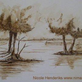 tekening landschap bomen