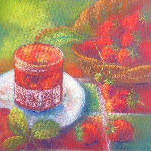 pastel stilleven met aardbeien in opdracht