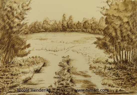 pen inkt landschap
