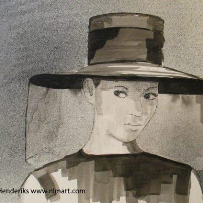 lady in black te koop ingelijst in 40x50cm