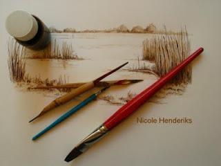 tekenen met pastel inkt en potloden