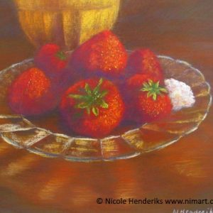 Lekkere aardbeien te koop ingelijst