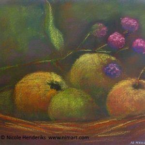 Stilleven met fruitmand te koop