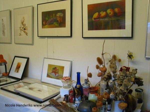 kunst , tekeningen, etsen en schilderijen in pastel, inkt en acryl