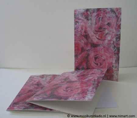 dubbele kunstkaart met envelop met rozen kopen