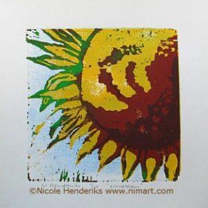 zonnebloem ingelijst 30x40cm te koop
