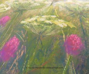 """detail  pastel tekening bloemen """"Daucus Carota"""""""