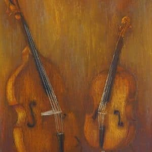 opdracht stilleven schilderij muziek  in lijst 50x60cmverkocht