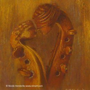 opdracht stilleven schilderij muziek in lijst 40x40cm verkocht