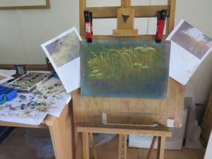 Veldbloemen pastel schilderijen