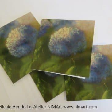 Nieuwe kunstkaarten hortensias