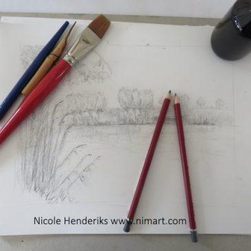 een tekening of een schilderij naar landschap in opdracht laten maken