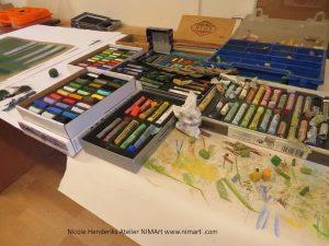 nieuwe tekeningen en schilderijen maken in pastel