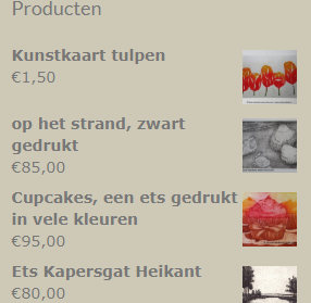 producten in de shop