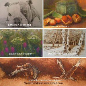 Nicole Henderiks tekeningen, schilderijen in pastel, inkt en acryl naar landschap, stilleven, natuur en dier