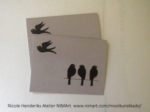 kunstkaart vogels is een dubbele kaart