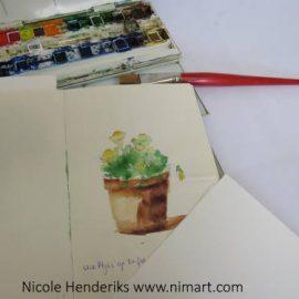 Buiten schetsen en tekenen met schetsboek